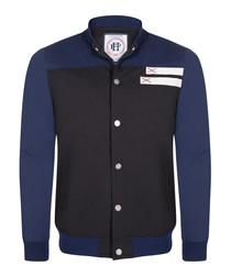 Black & navy cotton blend button jacket