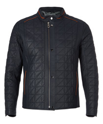 Walnut quilted leather jacket