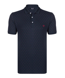 Navy pure cotton streak polo shirt