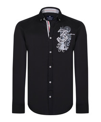 Black pure cotton collage shirt