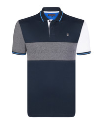 Navy cotton panel polo shirt
