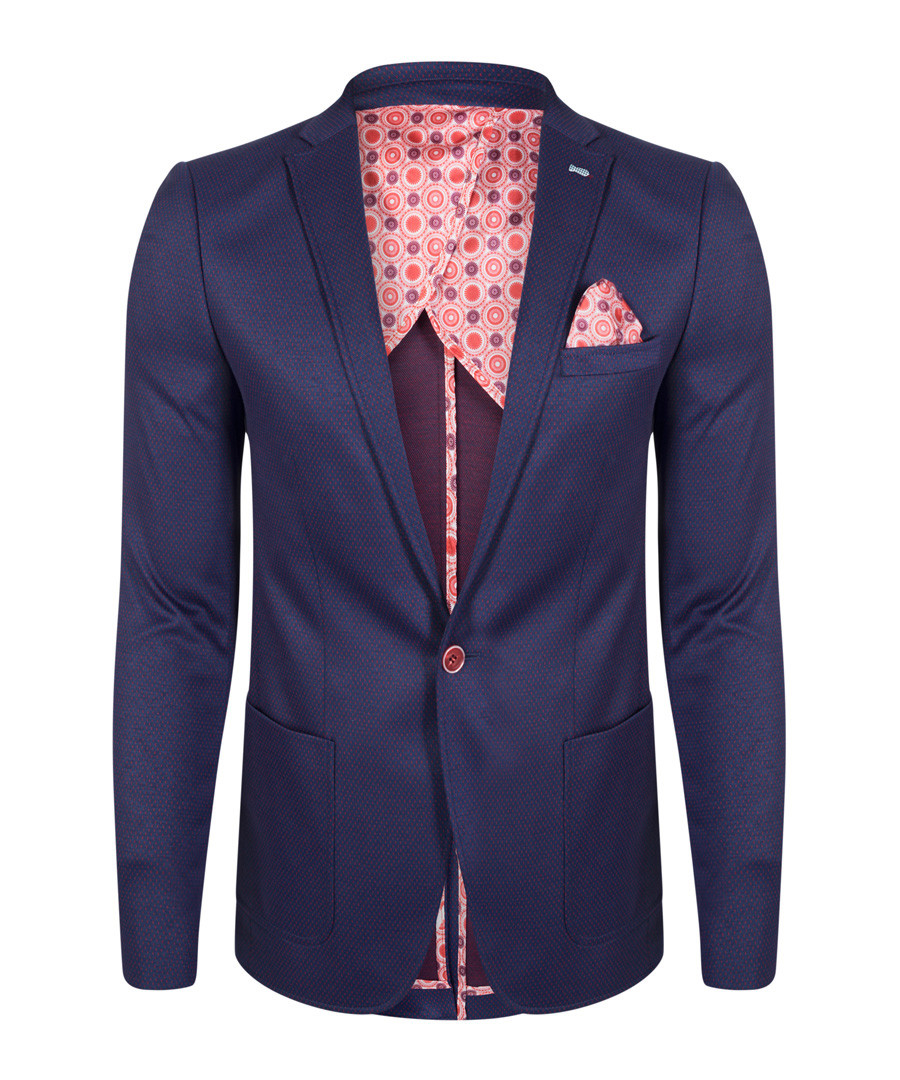 Navy cotton blend one-button blazer Sale - felix hardy