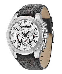 Black leathery & stainless steel watch