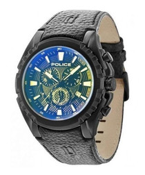 Black leather & blue dial watch