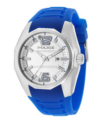 Blue silicone & stainless steel watch