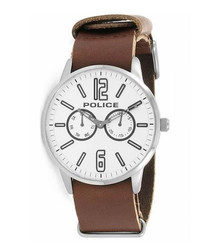 Brown leather & steel chrono watch
