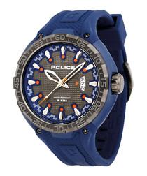 Indigo blue silicone & steel watch