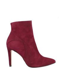 Burgundy suede court heels