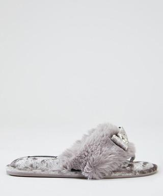 a7772decd2f Amelie mauve faux fur bow slippers Sale - pretty you london Sale