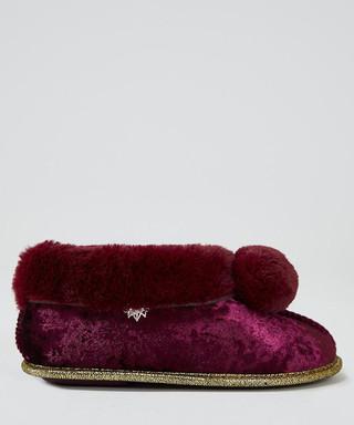 df2d943411c Annabel burgundy faux fur slipper boots Sale - pretty you london Sale