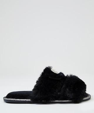 78cae897e28 Assisi black faux-fur slider slippers Sale - pretty you london Sale