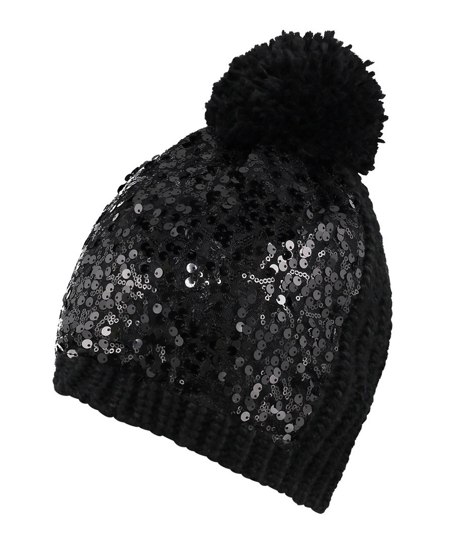Black sequin pompom beanie hat Sale - pretty you london ... 8030cc344ba
