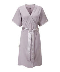 Oyster cotton blend robe