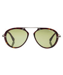 Havana & green aviator sunglasses