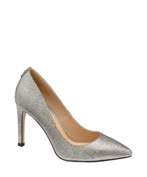 Silver-tone shimmer court heels