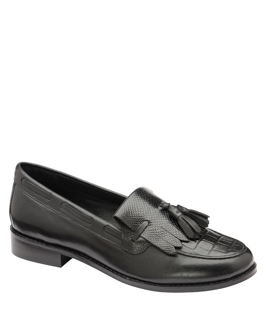 Black leather tassel loafers Sale - ravel