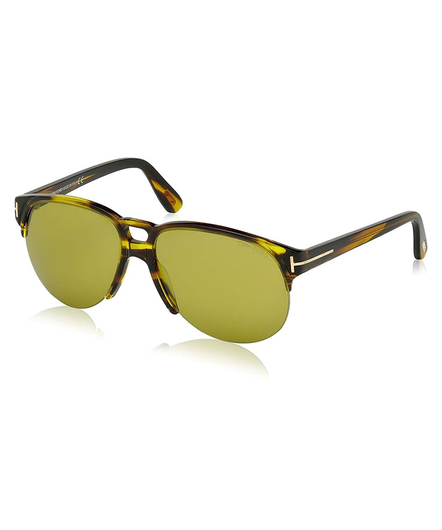 Brown & yellow double-bridge sunglasses Sale - tom ford