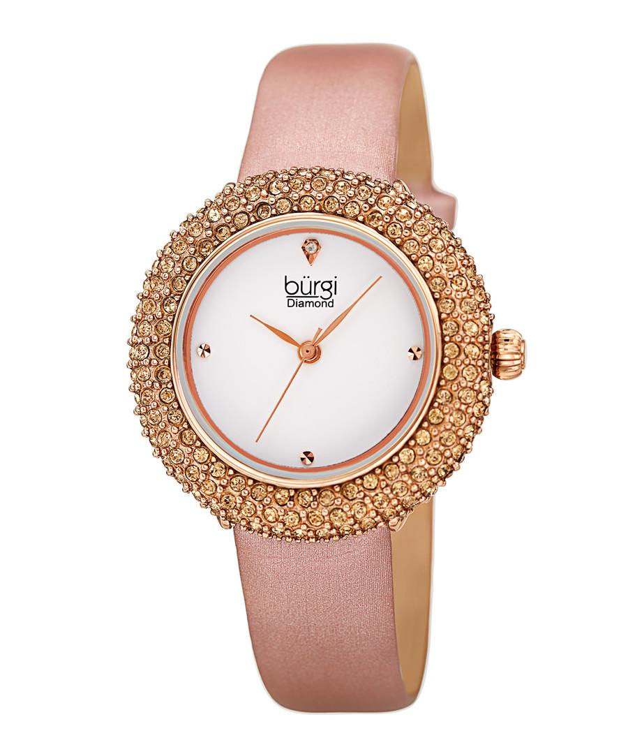 Pink swarovski leather watch Sale - Burgi