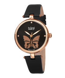 Black leather & rose butterfly watch