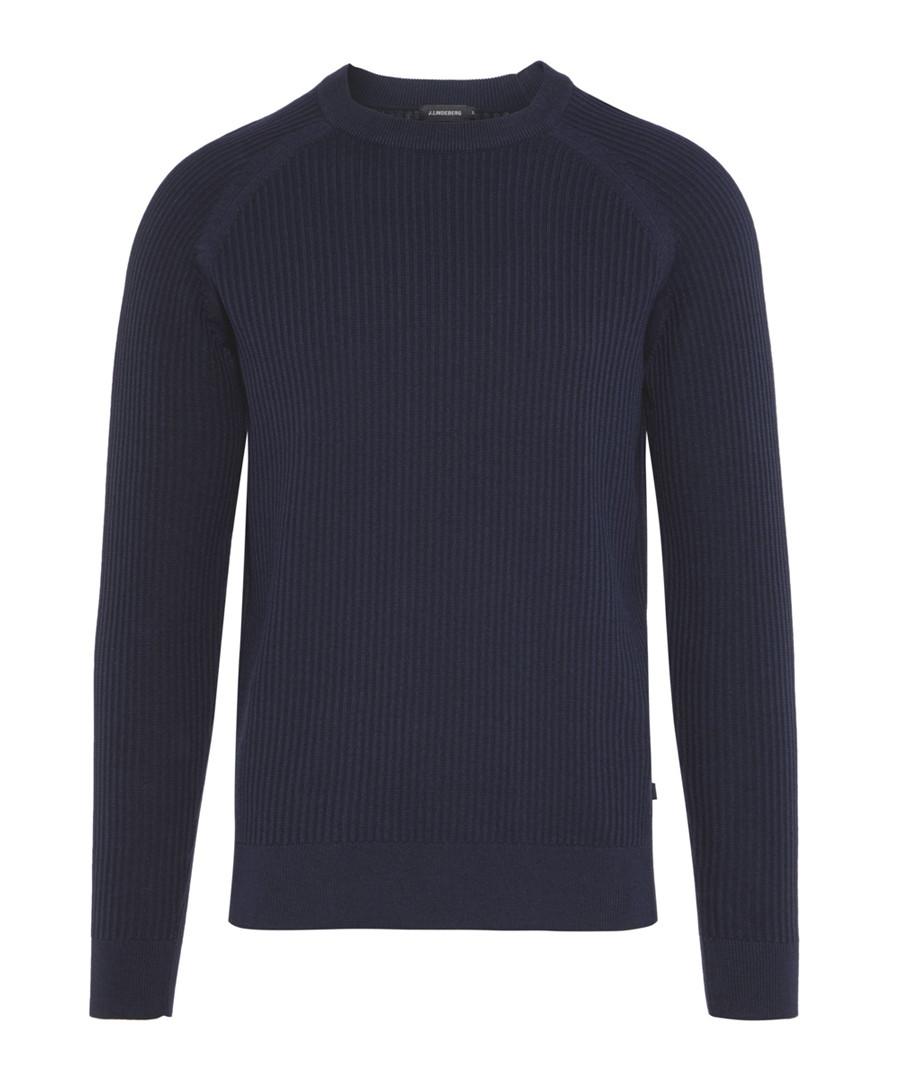 Lexter Square navy cotton blend jumper Sale - j lindeberg