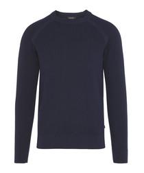 Lexter Square navy cotton blend jumper