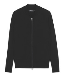Ribe black pure merino wool zip jumper
