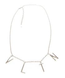 VLTN silver-tone logo necklace