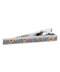 Silver-tone abstract print tie clip