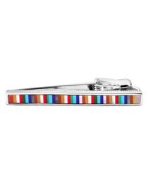 Silver-tone striped tie clip