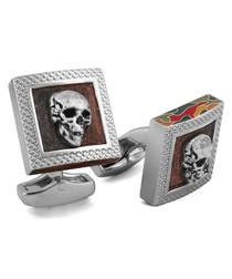 Silver-tone skull cufflinks