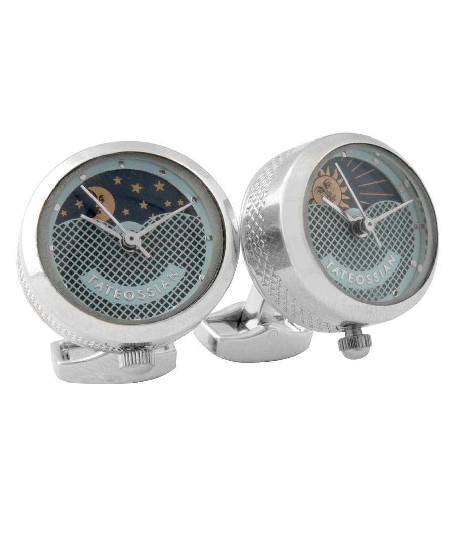 Steel sun & moon clock cufflinks Sale - Tateossian London