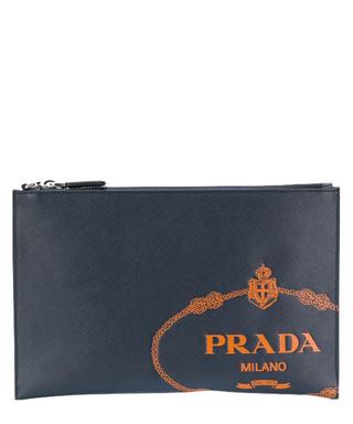 Navy brushed leather stamp clutch bag Sale - prada Sale 4ea09dff6ee03