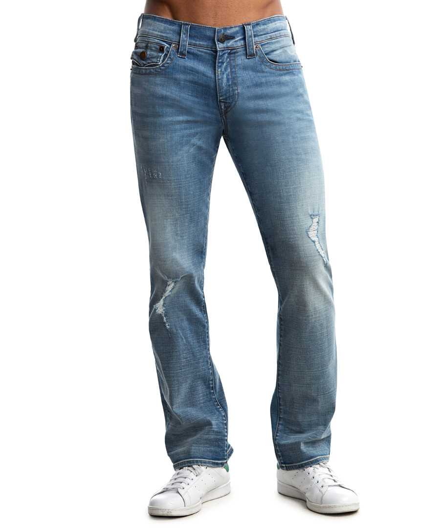 Ricky mid-blue cotton distress jeans Sale - true religion