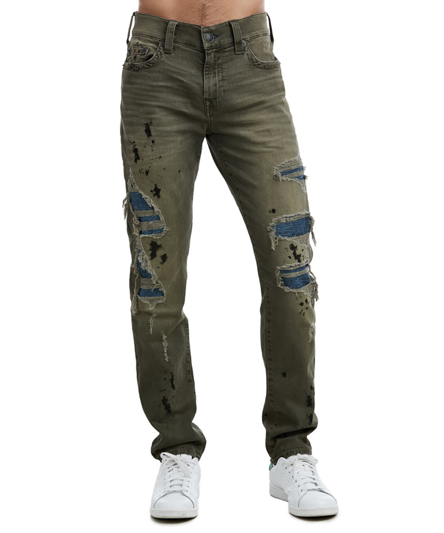 Geno khaki cotton distressed jeans Sale - TRUE RELIGION