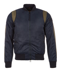 Dark blue nylon bomber jacket