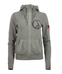 Peace cotton blend limestone zip hoodie