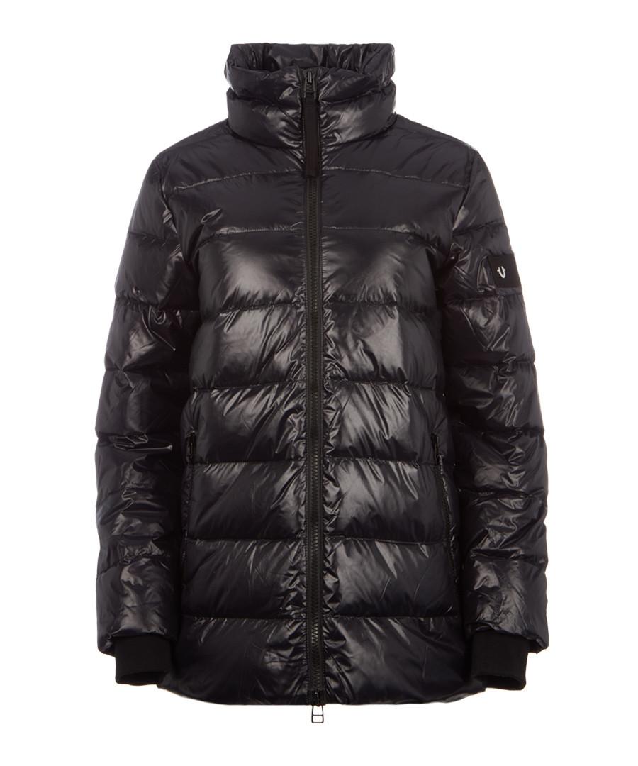 Black nylon padded funnel jacket Sale - true religion
