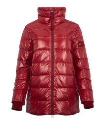 Crimson nylon padded funnel jacket