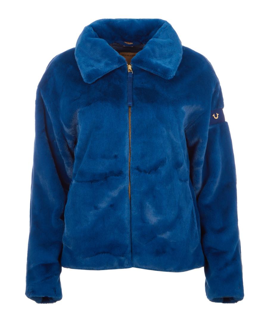 Faux fur blue zip jacket Sale - true religion