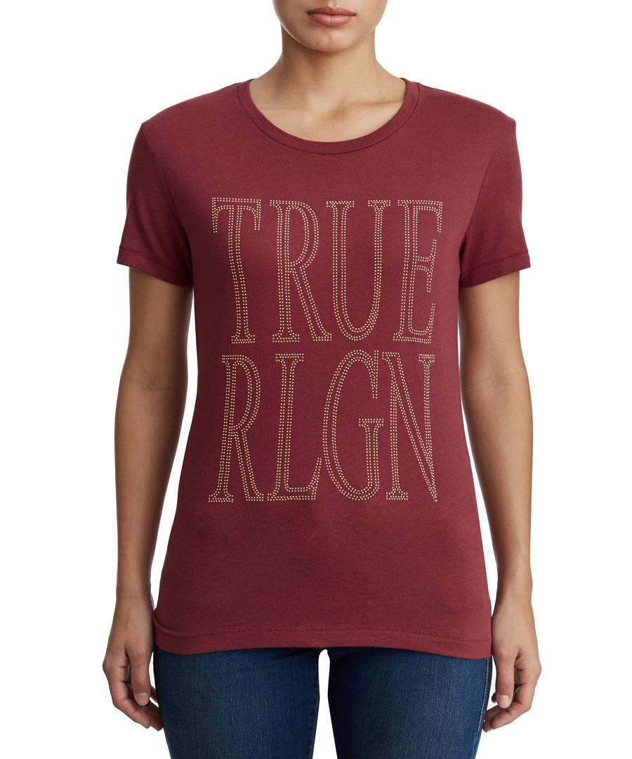 True Screen Print burgundy T-shirt Sale - true religion