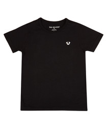 Boys' black pure cotton crest T-shirt