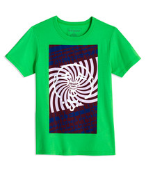 Boys' Psychadellic green cotton T-shirt