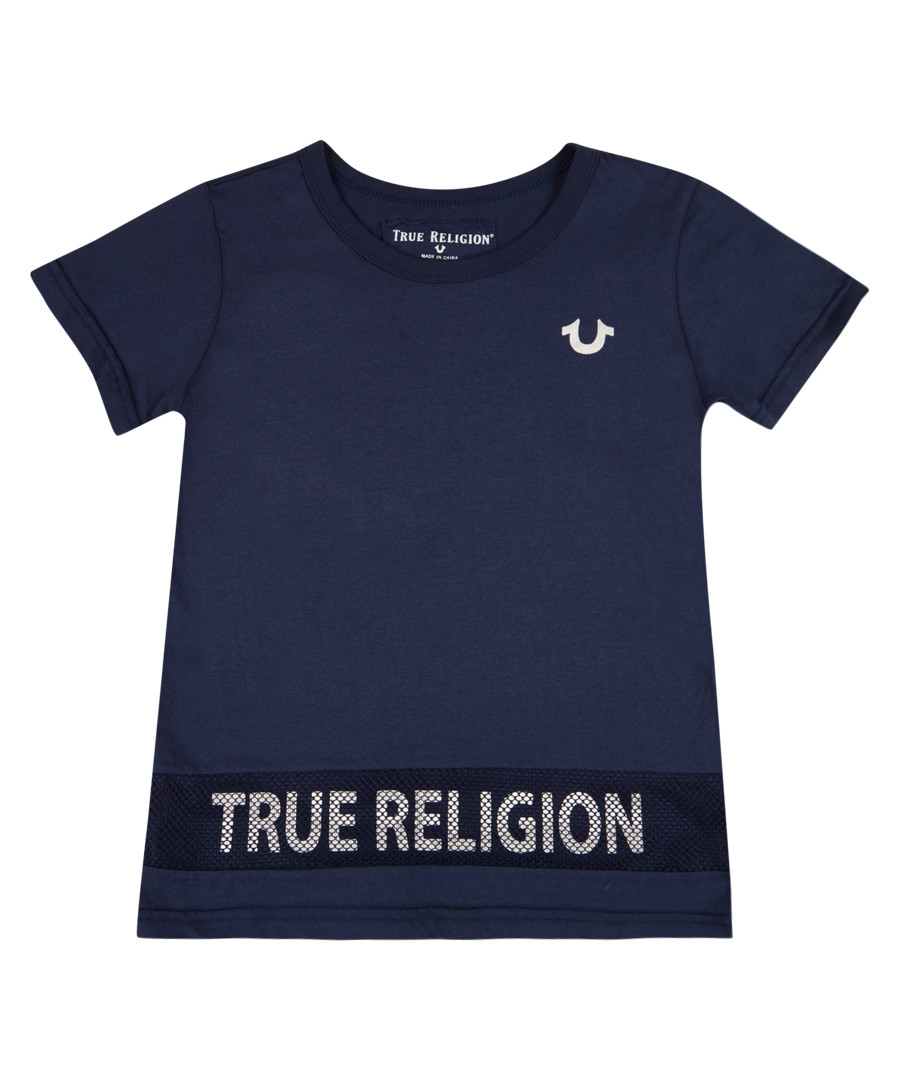 Boys' navy pure cotton logo T-shirt Sale - true religion