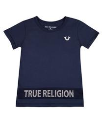 Boys' navy pure cotton logo T-shirt