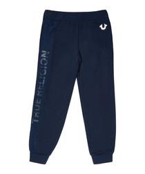 Boys' navy cotton blend logo joggers