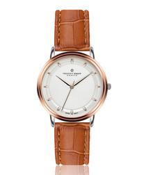Matterhorn ginger moc-croc leather watch