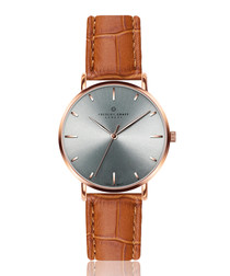 Eveque ginger moc-croc leather watch