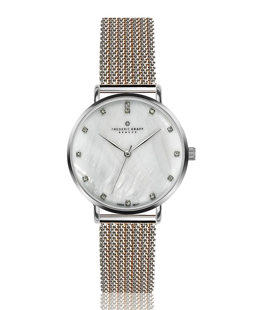 La Singla dual-tone steel mesh watch Sale - frederic graff