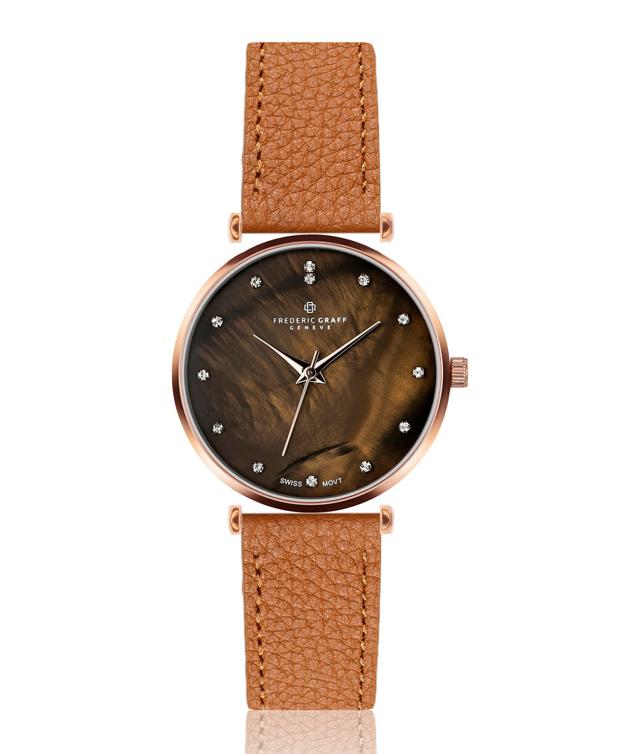 Mont Brule ginger leather watch Sale - frederic graff