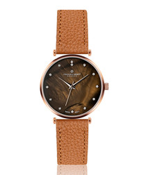 Mont Brule ginger leather watch